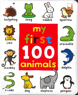A bright picture word book to read, A must-have first library to learn with, A small charming world to explore, This first book