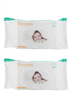 Uniqwipes Soft Skin BabyWipes128 ชิ้น แพ็ค1แถม1 มีฝา