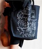 Tote bagมีแมวกี่ตัว ผ้ายีนส์CL035-B002J