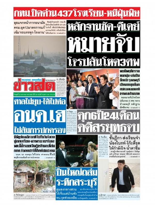 หนังสือพิมพ์ข่าวสด วันพุธที่ 22 มกราคม พ.ศ. 2563