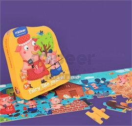 Mideer มิเดียร์ Fairy Tale Puzzle-Three Little Pigs จิ๊กซอว์เล่านิทาน (สำหรับน้อง 2-3 ขวบ)
