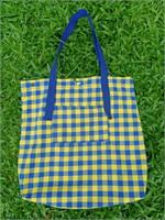 กระเป๋าผ้าลายสก๊อต (เหลือง-น้ำเงิน)