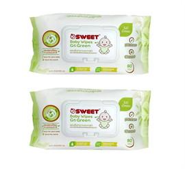 SWEET Baby wipe Go Green 80 แผ่น 1แถม 1