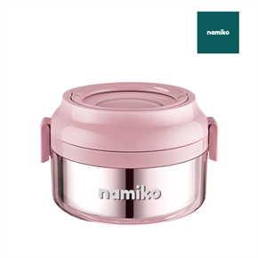 Namiko กล่องใส่อาหารทรงกลมฝาล็อค 850 ml สีชมพู