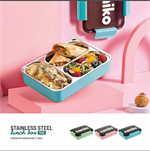 Namiko กล่องอาหารสเตนเลส 3 ช่อง 1100 ml สีชมพู