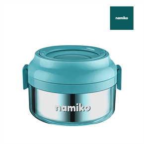 Namiko กล่องใส่อาหารทรงกลมฝาล็อค 850 ml สีฟ้า