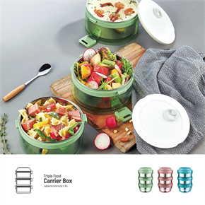 Namiko กล่องใส่อาหารทรงกลมฝาล็อค 3 ชั้น สีเขียว