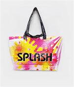 shopping bag beach bag splash ชมพูเหลือง