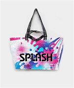 shopping bag beach bag ลาย splashชมพูฟ้า
