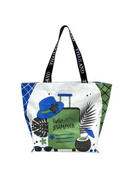 Shopping Bag ซัมเมอร์หมวก สีเขียวน้ำเงิน